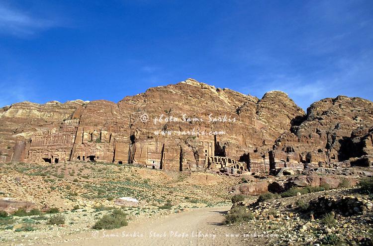 Royal Tombs carved into the cliffs at Petra, Jordan.