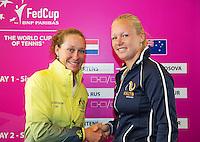 April 17, 2015, Netherlands, Den Bosch, Maaspoort, Fedcup Netherlands-Australia, third match Kiki Bertens (NED) (R) vs Samantha Stosur<br /> Photo: Tennisimages/Henk Koster