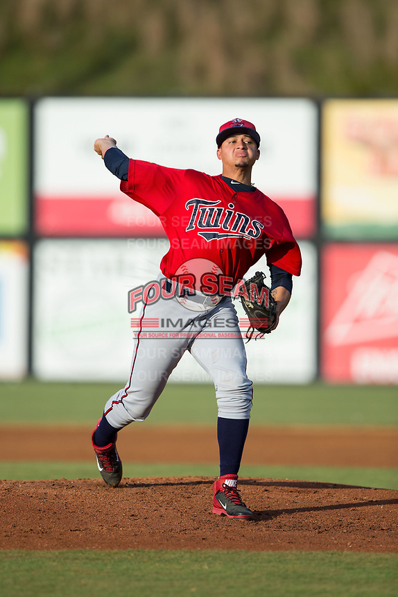 Elizabethton Twins starting pitcher Melvi Acosta (50) in action against the Danville Braves at American Legion Post 325 Field on July 1, 2017 in Danville, Virginia.  The Twins defeated the Braves 7-4.  (Brian Westerholt/Four Seam Images)