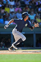 Infielder J.C. Rodriguez (13) of the Columbia Fireflies bats in a game against the Greenville Drive on Sunday, April 24, 2016, at Fluor Field at the West End in Greenville, South Carolina. Greenville won, 5-1. (Tom Priddy/Four Seam Images)