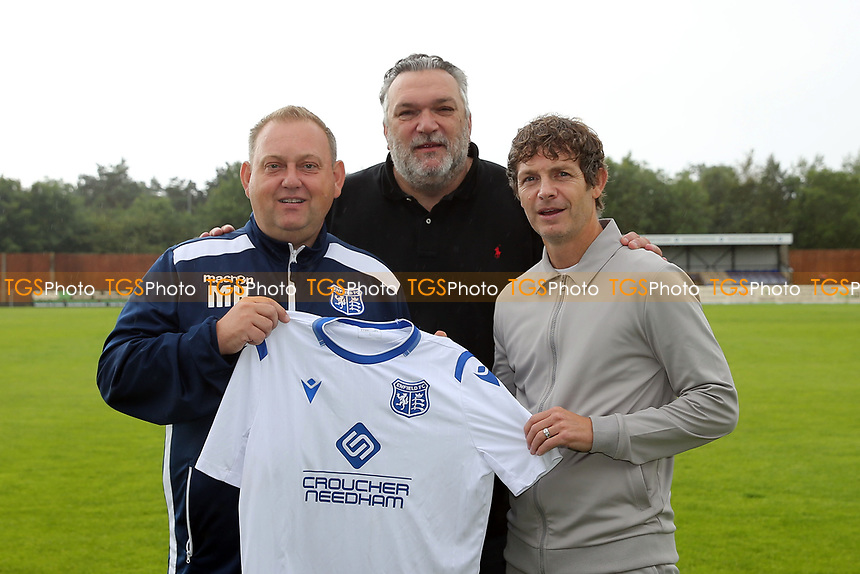 Tv Personality, former Tottenham and Liverpool defector and Enfield FC director Neil Ruddock with Enfield FC Manager Matt Hanning  and new Enfield FC Striker Jamie Cureton during a media event at Enfield FC on 27th June 2020