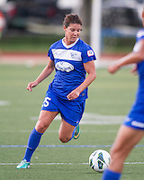 In a National Women's Soccer League Elite (NWSL) match, the Boston Breakers defeated the Western New York Flash  2-1, at Dilboy Stadium on May 5, 2013.  Boston Breakers midfielder Jo Dragotta (25) prepares to pass the ball.