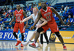January 11, 2017:  Fresno State center, Terrell Carter II #34, boxes out Falcon center, Frank Toohey #33, during the NCAA basketball game between the Fresno State Bulldogs and the Air Force Academy Falcons, Clune Arena, U.S. Air Force Academy, Colorado Springs, Colorado.  Air Force defeats Fresno State 81-72.