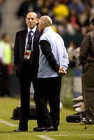 Dominic Kinnear (r) head coach of Houston Dynamo and MLS Commissioner Don Garber (l) have a chat before the start of the 2009 Western Conference Final. The LA Galaxy defeated the Houston Dynamo 2-0 in OT to win the MLS Western Conference Final at Home Depot Center stadium in Carson, California on Friday November 13, 2009...