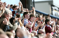 Burnley fans applaud their sides second half performance <br /> <br /> Photographer Rich Linley/CameraSport<br /> <br /> The Premier League - Burnley v Leicester City - Saturday 14th April 2018 - Turf Moor - Burnley<br /> <br /> World Copyright &copy; 2018 CameraSport. All rights reserved. 43 Linden Ave. Countesthorpe. Leicester. England. LE8 5PG - Tel: +44 (0) 116 277 4147 - admin@camerasport.com - www.camerasport.com