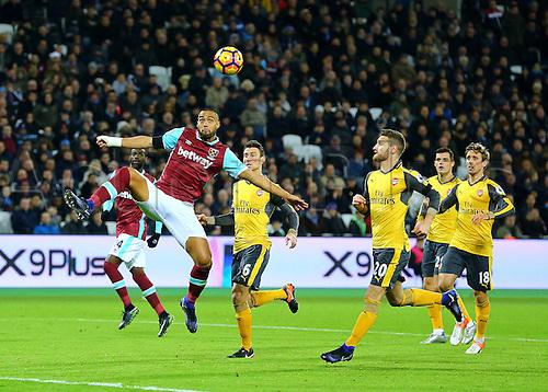 03.12.2016. London Stadium, London, England. Premier League Football. West Ham United versus Arsenal. West Ham United Defender Winston Reid misses a goal scoring opportunity