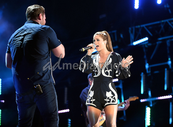 11 June 2016 - Nashville, Tennessee - Chris Young and Cassadee Pope. 2016 CMA Music Festival Nightly Concert held at Nissan Stadium. Photo Credit: Laura Farr/AdMedia