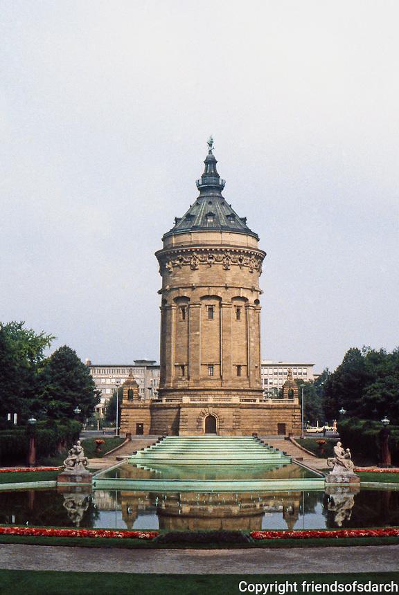 Mannheim: Water Tower (Wasserturm) --a celebratory symbol of Mannheim in center of city. Built in 1886, neo-Baroque design.