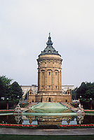 Mannheim: Water Tower (Wasserturm) --a celebratory symbol of Mannheim in center of city. Built in 1886, neo-Baroque design.