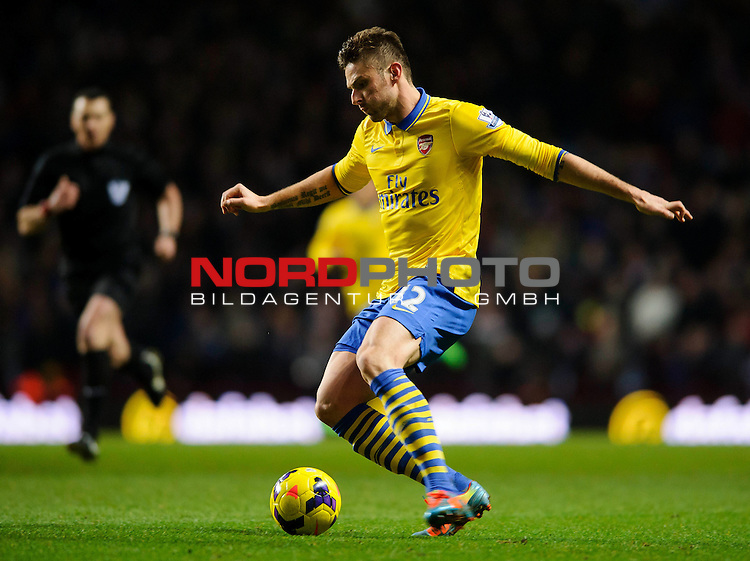 Arsenal Forward Olivier Giroud (FRA)  in action during the second half of the match -  - 13/01/2014 - SPORT - FOOTBALL - Villa Park, Birmingham - Aston Villa v Arsenal  - Barclays Premier League.<br /> Foto nph / Meredith<br /> <br /> ***** OUT OF UK *****
