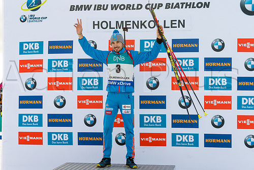 March 18th 2017, Oslo, Norway; BMW IBU World Cup Biathlon;  Anton Shipulin of Russia winner of  the men 12 1/2 km pursuit at the IBU World Cup Biathlon in Holmenkollen Oslo, Norway