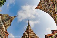 Fisheye upward view of chedi, Wat Pho, Bangkok, Thailand
