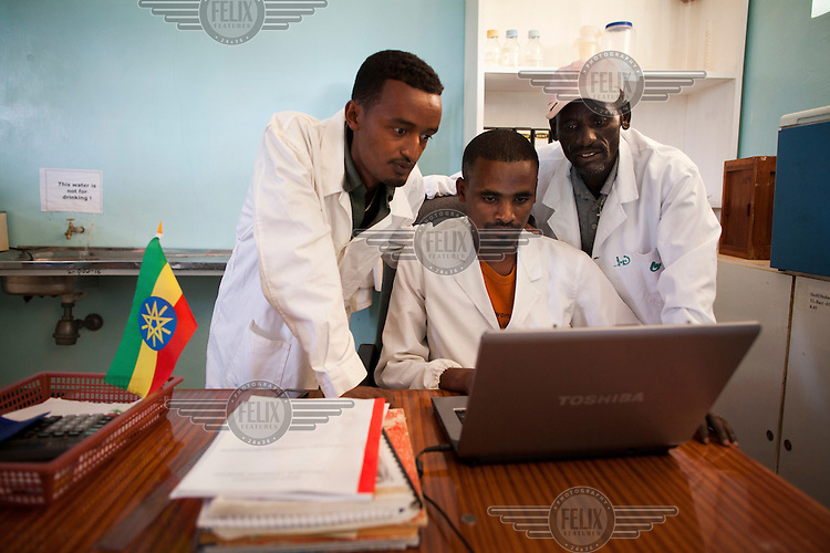 (L -R) Dr Gurara Megerssa, Dr Klubi Zeklude, and Debesso Adune look at test results on a laptop, in Yabello Regional Veterinary Laboratory. Testing is free but if samples test positive for diseases then any subsequent treatment must be paid for.
