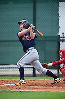 GCL Braves catcher Alan Crowley (62) at bat during a game against the GCL Phillies on August 3, 2016 at the Carpenter Complex in Clearwater, Florida.  GCL Phillies defeated GCL Braves 4-3 in a rain shortened six inning game.  (Mike Janes/Four Seam Images)