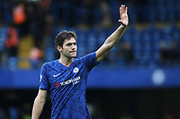Marcos Alonso of Chelsea waves to the home fans at the end of the match during Chelsea vs Everton, Premier League Football at Stamford Bridge on 8th March 2020