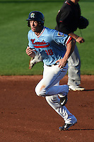 Cedar Rapids Kernels first baseman Chad Christensen (18) running the bases during a game against the Quad Cities River Bandits on August 19, 2014 at Perfect Game Field at Veterans Memorial Stadium in Cedar Rapids, Iowa.  Cedar Rapids defeated Quad Cities 5-3.  (Mike Janes/Four Seam Images)