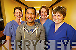 Kerry General Hospital ICU Staff: Leisha Kennelly, Eileen Flahive and Margaret Griffin congratulate colleague Roel Villnes who is set to appear on the Voice of Ireland next weekend.