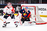 Stockholm 2014-09-05 Ishockey CHL Djurg&aring;rdens IF - Eisb&auml;ren Berlin :  <br /> Djurg&aring;rdens m&aring;lvakt goalkeeper Mantas Armalis har r&auml;ddat ett skott under matchen mot Eisb&auml;ren Berlin<br /> (Foto: Kenta J&ouml;nsson) Nyckelord:  Djurg&aring;rden Hockey Hovet CHL Eisb&auml;ren Berlin