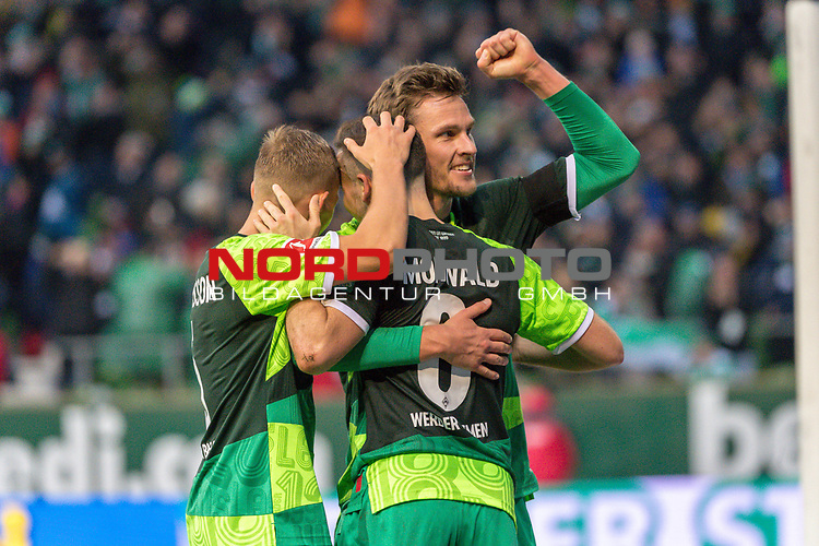 10.02.2019, Weser Stadion, Bremen, GER, 1.FBL, Werder Bremen vs FC Augsburg, <br /> <br /> DFL REGULATIONS PROHIBIT ANY USE OF PHOTOGRAPHS AS IMAGE SEQUENCES AND/OR QUASI-VIDEO.<br /> <br />  im Bild<br /> <br /> jubel tor 4:0 <br /> Kevin M&ouml;hwald / Moehwald (Werder Bremen #06)<br /> Sebastian Langkamp (Werder Bremen #15)<br /> Ludwig Augustinsson (Werder Bremen #05)<br /> <br /> Foto &copy; nordphoto / Kokenge