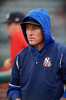 New Hampshire Fisher Cats pitcher Sean Reid-Foley (27) in the dugout during a game against the Altoona Curve on May 11, 2017 at Peoples Natural Gas Field in Altoona, Pennsylvania.  Altoona defeated New Hampshire 4-3.  (Mike Janes/Four Seam Images)