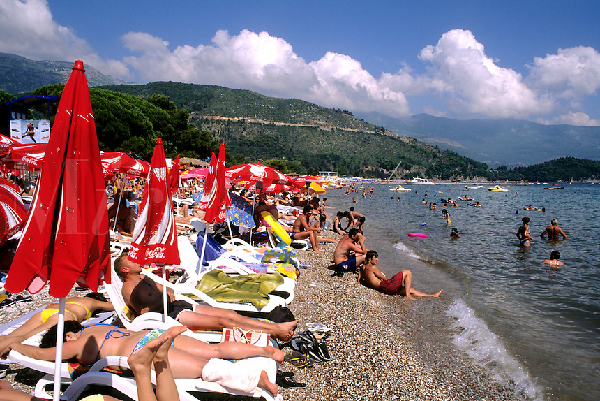Beaches and crowds in Budva Montenegro