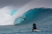 Namotu Island Resort, Nadi, Fiji (Sunday, May 27th 2018): Zac Haynes (AUS)<br /> There had been strong SE winds all night along with heavy rain so the ocean was messy at first light. Cloudbreak was big and bumpy at dawn and the namotu boat was the first in the line up. The set waves were in the 15' plus range  and the ocean needed to settle down before any one hit the water.<br /> As the tide dropped it cleaned up and the first surfers paddled out. The first ridden waves were tow-in and in the 20' plus range. The swell was the biggest just after the low tide and stayed in the 15'-20' range for the rest of the day.<br /> Crew paddled and towed into the waves and there were also crew who kite surfed when the wind ws strong enought.<br /> There were strong wind all day and overcast conditions with long periods of rain. The huge swell forecast had big wave surfers flying in from around the world and it had already been call the 'Black Mamba' swell, one of the biggest to hit Fiji in the past six years.  <br /> Photo: joliphotos.com
