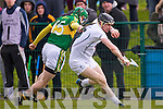 David Butler Kerry in action against Eanna O'Neill Kildare in the National Hurling League at Abbeydorney on Sunday.