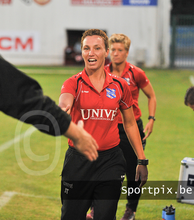 20130903 - ANTWERPEN , BELGIUM : Heerenveen coach Jessica Torny pictured during the female soccer match between Royal Antwerp FC Vrouwen and SC Heerenveen at the BOSUIL STADIUM , of the second matchday in the BENELEAGUE competition. Tuesday 3 September 2013. PHOTO DAVID CATRY