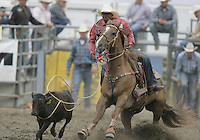 26 Aug 2010:  Cory Solomon scored a time of 9.8 in the slack Tie Down Roping competition at the Kitsap County Stampede Wrangle Million Dollar PRCA Silver Rodeo Tour Bremerton, Washington.