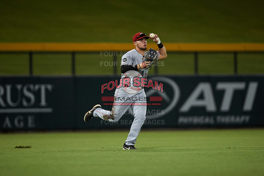 AZL Reds left fielder Wendell Marrero (31) throws to the infield during an Arizona League game against the AZL Cubs 2 on July 23, 2019 at Sloan Park in Mesa, Arizona. AZL Cubs 2 defeated the AZL Reds 5-3. (Zachary Lucy/Four Seam Images)