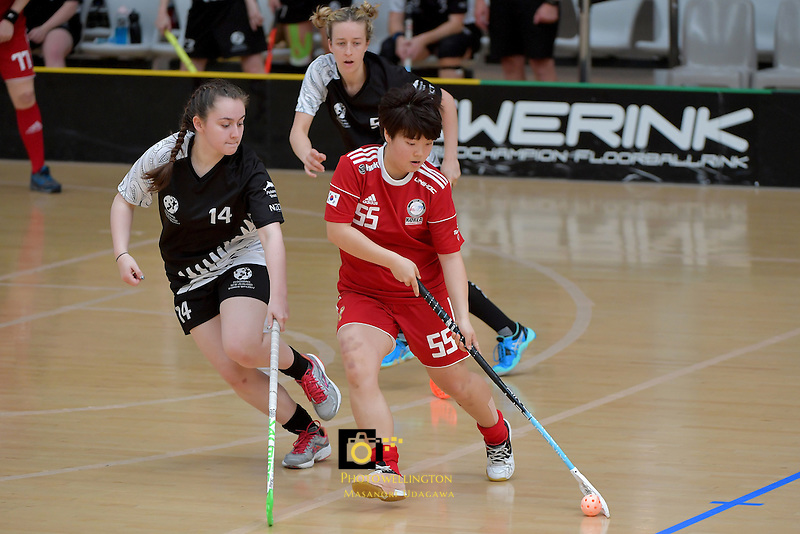 Korea's Seoyoung Shin in action during the World Floorball Championships 2017 Qualification for Asia Oceania Region - New Zealand v Korea at ASB Sports Centre , Wellington, New Zealand on Sunday 5 February 2017.<br /> Photo by Masanori Udagawa<br /> www.photowellington.photoshelter.com.