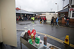 Condiments on display next to a burger van in the streets outside the City Ground, Nottingham before Nottingham Forest take on visitors Ipswich Town in an Npower Championship match. Forest won the match by two goals to nil in front of 22,935 spectators.