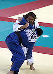 Anthony Clarke of Australia is unsucessful against Oleg Kretsul of Russia in the men's under 90kg judo competition, his bout lasting only 29 secs