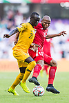 Awer Mabil of Australia (L) is followed by Khalil Baniateyah of Jordan during the AFC Asian Cup UAE 2019 Group B match between Australia (AUS) and Jordan (JOR) at Hazza Bin Zayed Stadium on 06 January 2019 in Al Ain, United Arab Emirates. Photo by Marcio Rodrigo Machado / Power Sport Images