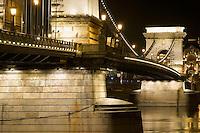 Chain bridge at night, Budapest, Hungary