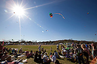 The Annual Zilker Park Kite Festival draws thousands of people to Zilker Park in downtown Austin, Texas