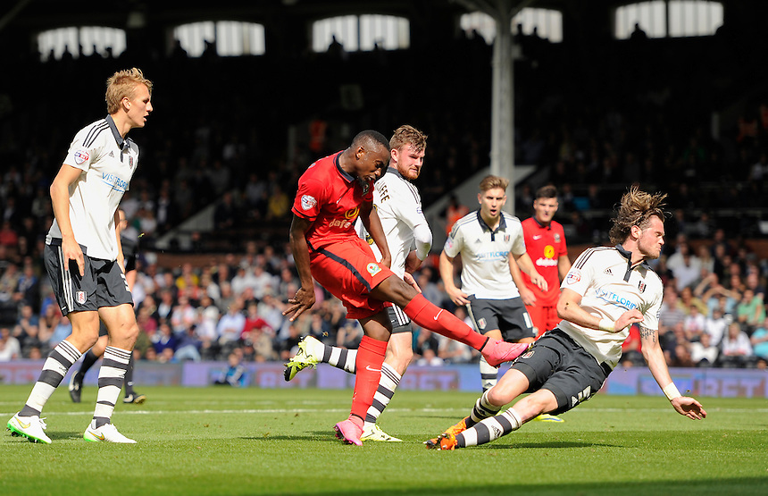 Blackburn Rovers' Bengadli-Fode Koita is denied by the woodwork<br /> <br /> Photographer Ashley Western/CameraSport<br /> <br /> Football - The Football League Sky Bet Championship - Fulham v Blackburn Rovers - Sunday 13th September 2015 - Craven Cottage<br /> <br /> &copy; CameraSport - 43 Linden Ave. Countesthorpe. Leicester. England. LE8 5PG - Tel: +44 (0) 116 277 4147 - admin@camerasport.com - www.camerasport.com