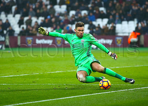 February 11th 2017, London Stadium, London, England, Premier League football, West Ham versus West Bromwich Albion;  West Brom Goalkeeper Ben Foster saves the ball from going out for a West ham corner