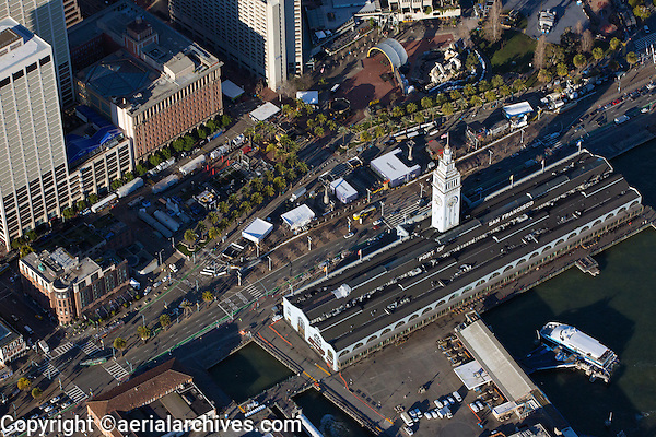 aerial photograph Super Bowl City, Ferry Building and Embarcadero during Superbowl 50, San Francisco, California
