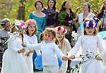 Children participating in the grand procession at the start of the Beltaine Pageant event at the Beltane Earth Fest 2012, held on the grounds of The Center for Symbolic Studies at Stone Mountain Farm, New Paltz (near the Village of Tillson), NY on Saturday, April 28, 2012. Photograph Copyright Jim Peppler/2012.
