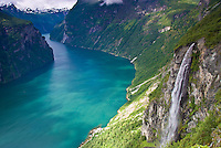 Waterfall at Geiranger Fjord, 500 foot waterfall, Geiranger Fjord, World Heritage Site, Western Fjords, Norway