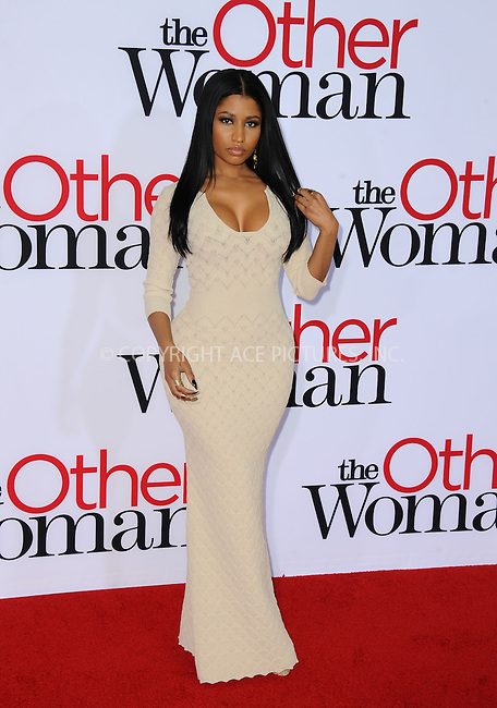 WWW.ACEPIXS.COM<br /> <br /> April 21 2014, LA<br /> <br /> Nicki Minaj arriving at the 'The Other Woman' - Los Angeles Premiere at the Regency Village Theatre on April 21, 2014 in Westwood, California.<br /> <br /> <br /> By Line: Peter West/ACE Pictures<br /> <br /> <br /> ACE Pictures, Inc.<br /> tel: 646 769 0430<br /> Email: info@acepixs.com<br /> www.acepixs.com