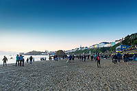 Pictured: Crowds gather for the swim event on the north beach. Sunday 15 September 2019<br /> Re: Ironman triathlon event in Tenby, Wales, UK.