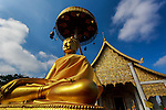 Buddhist temple , Rural landscape in northern Thailand- Chiang Mai