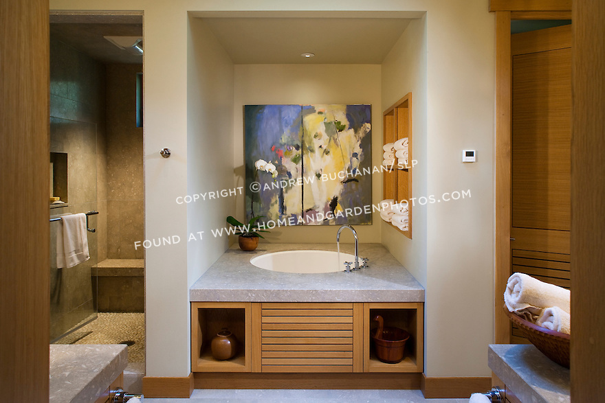 A master bathroom offers a large, walk-in shower and Japanese soaking tub. this image is available through an alternate architectural stock image agency, Collinstock located here: http://www.collinstock.com