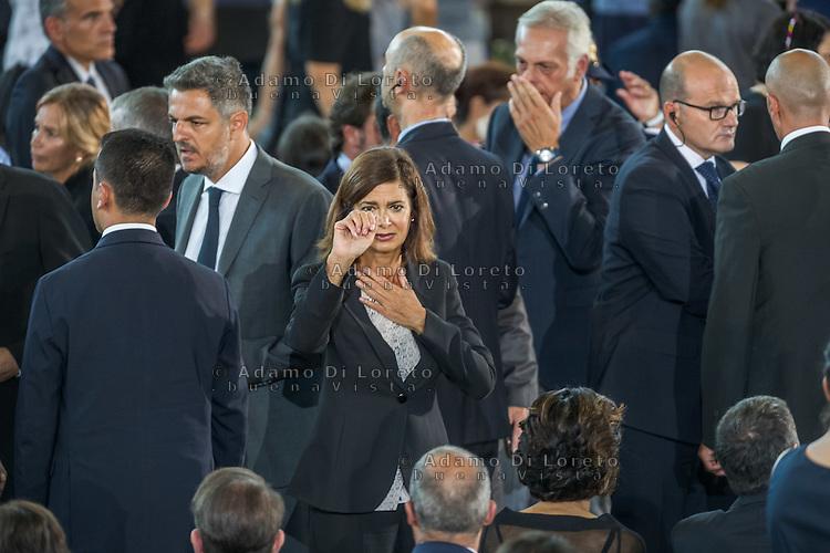 The Laura Boldrini during the Funeral earthquake on PalaSport Monticelli in Ascoli Piceno  August 27, 2016, in Marche, Italy. Photo by Adamo Di Loreto