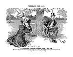 Forecasts for 1907. IV. - The Development of Wireless Telegraphy. Scene in Hyde Park. [These two figures are not communicating with one another. The lady is receiving an amatory message, and the gentleman com racing results.]