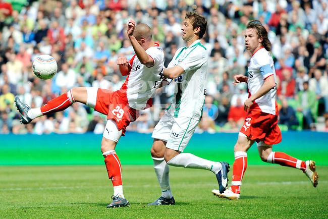 voetbal fc groningen - fc utrecht  eredivisie eerste ronde play-off seizoen 2008-2009 21-05-2009 andrej sjvedik met vito wormgoor.  fotograaf jan kanning. . .