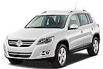 Front three quarter view of a 2010 Volkswagen Tiguan Wolfsburg SUV  Stock Photo