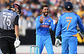 8th February 2019, Eden Park, Auckland, New Zealand;  Krunal Pandya celebrates the wicket of Mitchell. New Zealand v India in the Twenty20 International cricket, 2nd T20.